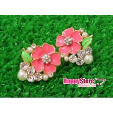 Diamond Flowers with Pearl stud earrings
