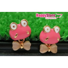 Cute Pinky Froggy with dangling Ribbon stud earrings
